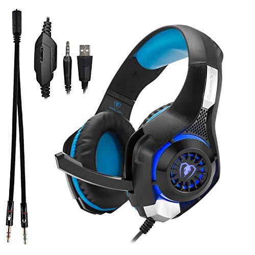 Beexcellent GM- 1 -  Auriculares de Diadema con Cable de 3, 5 mm para Videojuegos con Sonido Envolvente con iluminación LED y micrófono para PS4,  Xbox One,  PC,  portátil,  Tableta,  teléfono Celular (Azul)