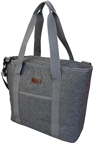 Large Cooler Bag Insulated | Cooler Tote Bag Carrier | 25 Can Capacity Cooler Bags Insulated for Travel with Zipper | Insulated Tote Bags | Insulated Grocery Bag Thermal Beach Market Tote Collapsible