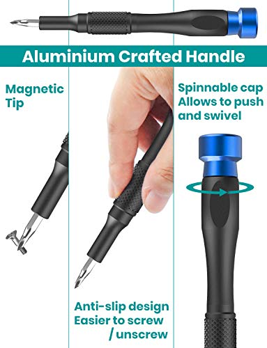 Klearlook 48 in 1 Precision Screwdriver Set with Case,Mini Magnetic Precision Electronics Repair Tool Driver Kit for Mobile Phone, PC, Laptop, Tablet, Watches, Game Console,Small Appliances and More