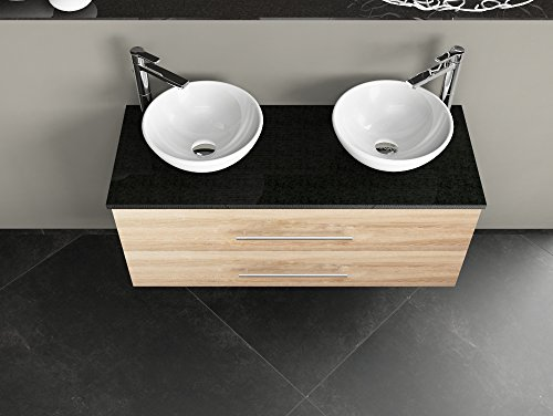 Flex badkamermeubel 120cm met 2 laden - keramische wasbak rond - dragerplaat van graniet - eiken goud