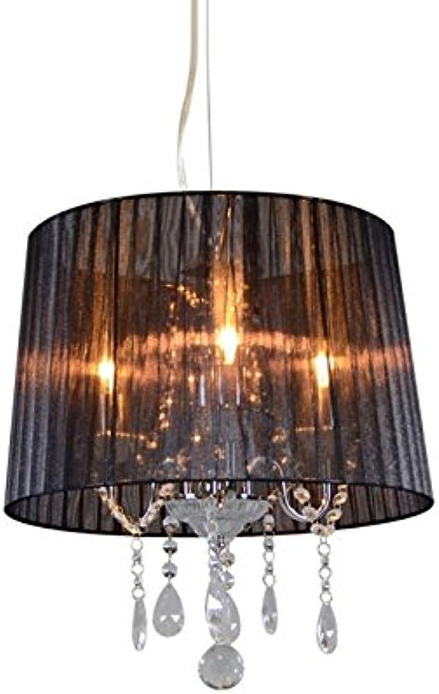 Qazqa, lampadario con paralume ann-kathrin ,vetro,metallo,tessuto 89399