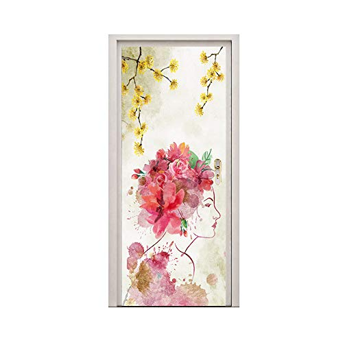 77 X 200 Decorative Paintings From The Sticky Door Paste Beautiful Woman