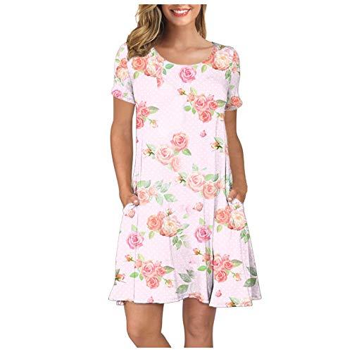 yazidan Womens T-Shirt Dresses, Sunflower Printed/Tie Dye Short Sleeve Round Neck Dress Summer Casual Mini Dresses for Daily Beach Party