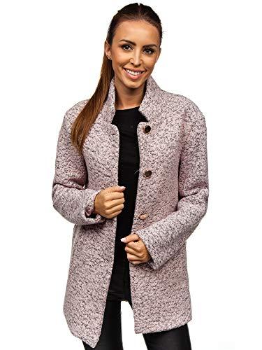 BOLF Mujer Abrigo De Invierno Abotonado Sencilla Cuello Elevado Estilo Elegante AAA 6011-1 Rosa One Size [D4D]