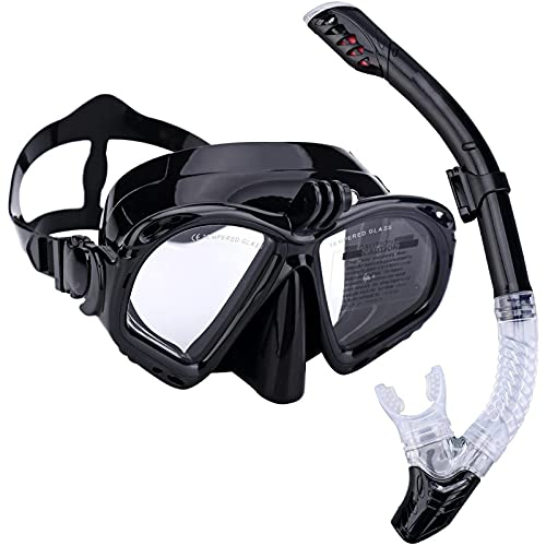 XDXT Conjunto de máscara de Snorkel para Adultos, Engranaje de Snorkeling Anti Niebla, 180 ° Vista panorámica Gafas para Buceo, Snorkeling, natación