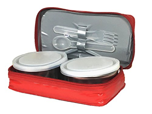 Milton Mini Series Stainless Steel Containers Lunch Box, Pack of 2, Red