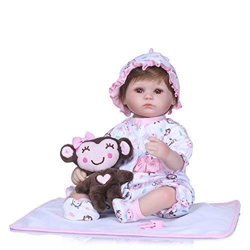 Pinky Reborn Dolls Girls 17 Inch 43cm Reborn Baby Doll Lifelike Realistic Soft Silicone Vinyl Reborns Cute Newborn Dolls Baby Girl Magnet Pacifier Xmas Gift