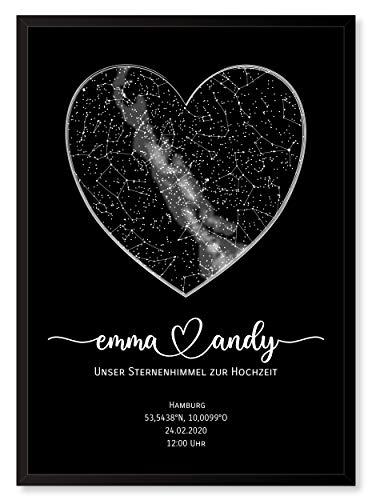 Personalisierte Sternenkarte - Sternenhimmel Poster - Die Sternenkarte vom Wunschdatum mit Wunschtext - Personalisiertes Geschenk für Paare - Kennenlernen, Verlobung, Hochzeit (Schwarz/Schwarz)
