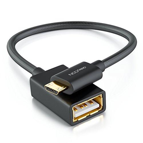 deleyCON 0,1m USB 2.0 OTG Adapter Kabel Nylon + Metallstecker - Micro USB auf USB A Buchse Datenkabel Smartphone & Tablet verbinden mit USB Stick - Schwarz