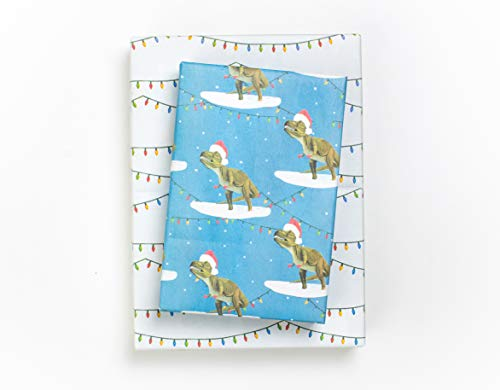 Reversible Holiday Wrapping Paper - Eco Gift Wrap Allport Editions x Wrappily (T-Rex Christmas Lights)