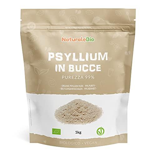 Tégument de Psyllium Blond BIO - Pureté 99% - de 1Kg. Psyllium Husk Biologique, Naturel et Pur. 100% Cosses de Graines de Psyllium Indien. Riche en fibres, à consommer dans l'eau, boissons ou jus.