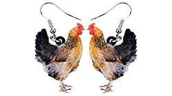 Perfect gifts for chicken lovers, colorful chicken earrings