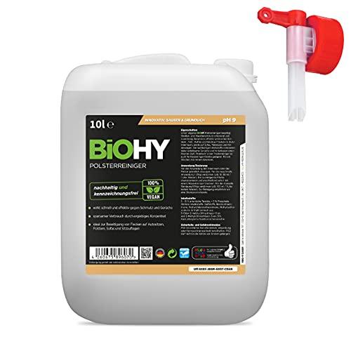 BiOHY Bekleding reiniger (10 Liter Busje) + uitlaatkraan | Ideaal voor autostoelen, banken, matrassen etc. | Ook geschikt voor wasmachines (Polsterreiniger)