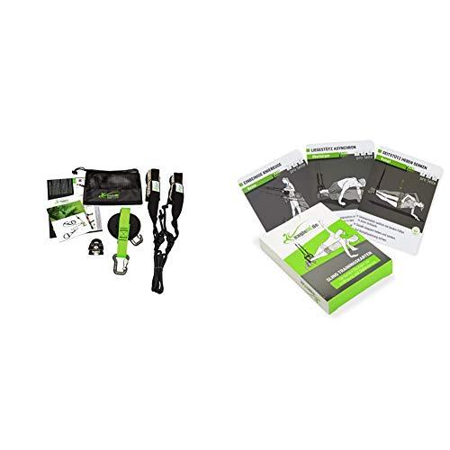eaglefit Sling-Trainer Allround Elastic, Fitnessgerät, Schlingentrainer inkl. Umlenkrolle, Längenverstellung 90-310 cm, grün & Sling-Trainer-Karten für EIN abwechslungsreiches Training
