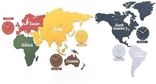 PANGPANGDEDIAN Reloj de pared con mapamundi moderno, funciona con pilas, silencioso, de calidad de cuarzo, reloj despertador (tamaño: 220 x 115 cm)