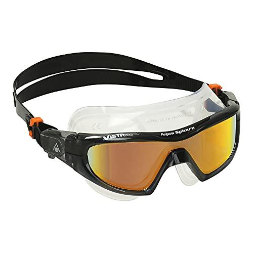 Aqua Sphere Vista Pro Mirror Adult Swim Mask - Orange Titanium-Mirror Lens First Single Lens Swim Mask Ms3541201lmo Dark Grey Black One Size