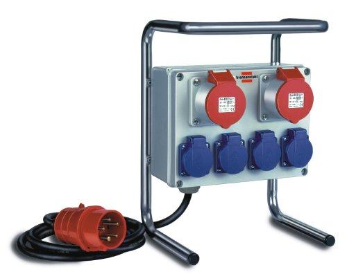 Kompakter Kleinstromverteiler BKV 2/4 G IP44 / Baustromverteiler mit Stahlrohrgestell (2m Kabel, für ständigen Einsatz im Außenbereich IP44)