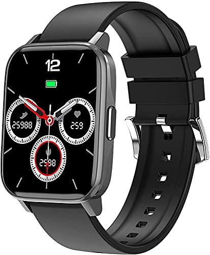 QHG Pantalla Grande Smart Watch Monitor de Ritmo cardíaco Presión Arterial Actividad Tracker Podómetro Calories Fitness Tracker para Android & iOS (Color : Black)