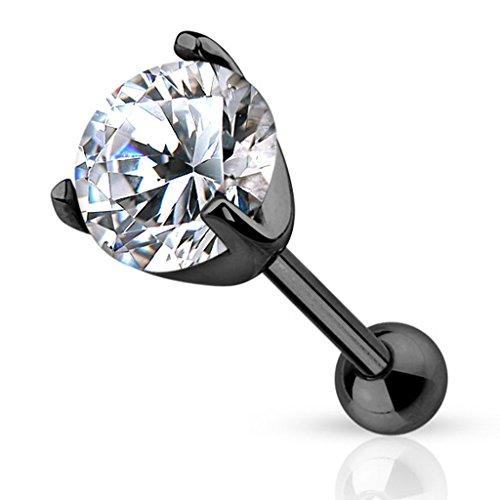 Piercingfaktor Piercing Ohr aus Chirurgenstahl Helix Tragus Ohrpiercing Cartilage Barbell Stecker mit Kristall Schwarz 3mm