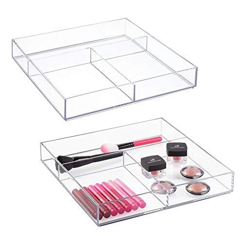 mDesign rangement maquillage (lot de 2) – boite rangement pour make-up, élastiques pour cheveux et produits de beauté – bac de rangement produits de soins à 3 compartiments – transparent