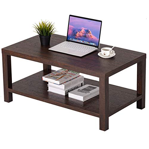 Shelf Coffee Table, Center Table for Living Room, Two-Tier Coffee Table with Storage Shelf, 40 Inch, Brown