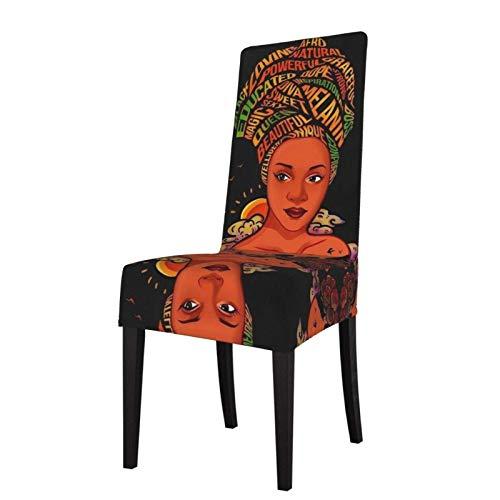 Funda protectora para silla de comedor afroamericana, color negro melanina, para mujer, extraíble, lavable, suave, elastano, elástica, para casa, cocina, restaurante, fiesta, etc.