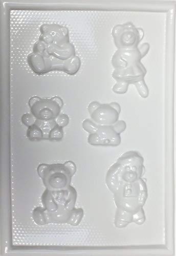 hobby e Blu Stampo PVC Orsetti Varie Forme 13x19 cm, Perfetto per colate in Gesso o Marmo