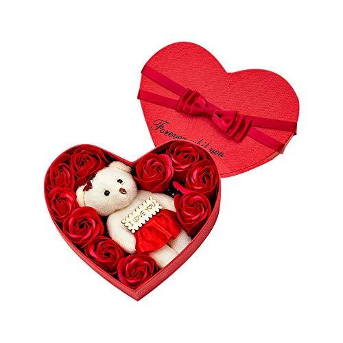 MOPOIN Soap-Rosen Blumen in Geschenk Box mit Bärn, Rosenbox Herzbox für Muttertag, Valentinstag, Weihnachten, Jubiläum (Rot)