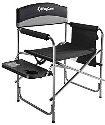 KingCamp Heavy Duty Camping Folding Director Chair Oversize Padded Seat with Side Table and Side Pockets, Supports 396 lbs (Black/Medium Grey)
