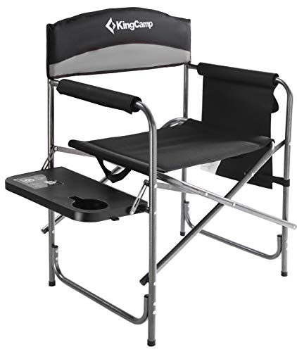 KingCamp Heavy Duty Camping Folding Director Chair Oversize Padded Seat with Side Table and Side Pockets, Supports to 396 lbs