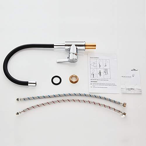Auralum – Design-Küchenarmatur mit flexiblem Brausehals, Schwarz - 8