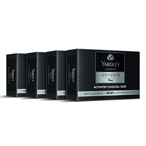 Yardley London Gentleman Classic Activated Charcoal Soap, with 99.9% Germ Protection and Deep Cleansing of Skin (Pack Of 4)