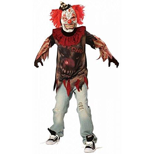 shoperama Horror Clown Kinderkostüm gruselig Zirkus Psycho Halloween Killer Jungen Kostüm Es, Kindergröße:152 - 10 bis 12 Jahre