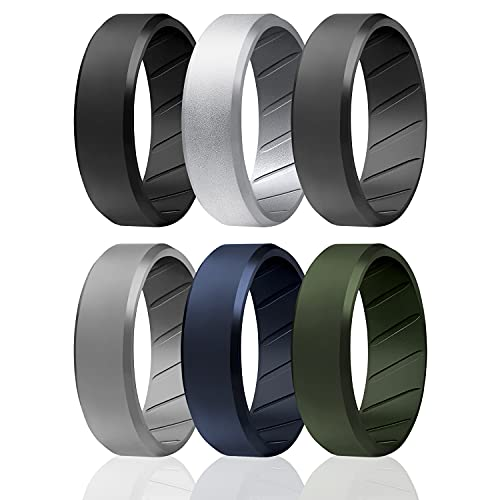 ROQ Silicone Rings, Breathable Silicone Rubber Wedding Ring Band for Men with Comfort-Fit Design, 8mm Beveled Edge, 6 Pack, Silicone Wedding Ring - Black, Silver, Grey, Blue, Green Colors - Size 9