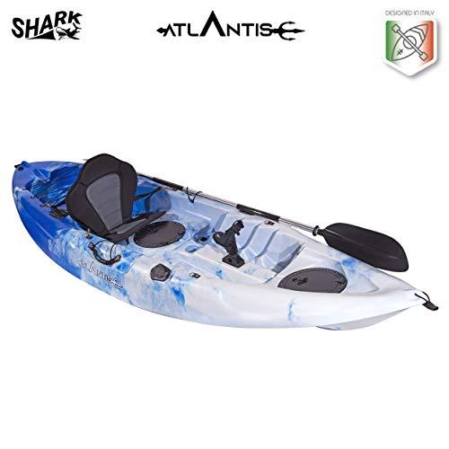 ATLANTIS Kayak-Canoa Shark Blu/Bianco cm 280-2 gavoni - seggiolino - pagaia - portacanna