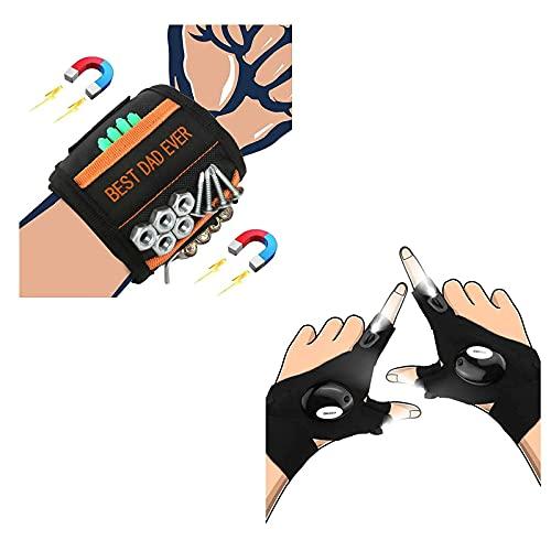 Magnetic Wristband BEST DAD EVER, LED Flashlight Gloves