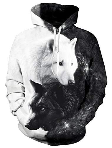 Goodstoworld Herren Damen Wolf Hoodie 3D Bunt Druck Kapuzenpullover Langarm Pullover Sweatshirt Kapuze Gedruckte Top Jungen XL