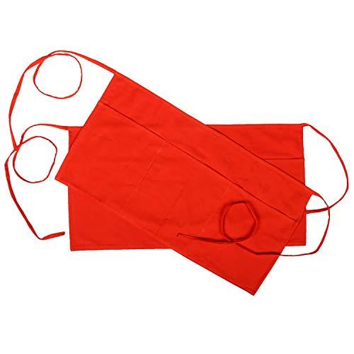 RAJRANG BRINGING RAJASTHAN TO YOU Grembiuli da donna in puro cotone Set di 2 cinghie regolabili di colore rosso Grembiule da cameriere piccolo mezzo corto con 3 tasche grandi