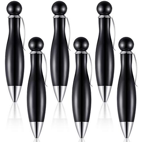 6 Pieces Short and Fat Ballpoint Pen for Tremor, Arthritis, Parkinson, Big Fat Pens Elegant Black Barrel with Black Ink Mini Ink Pen