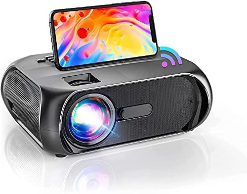 Videoproiettore WiFi 6500, Mini proiettore 1080P Full HD, Supporto Proiettore Portatile Home Cinema Native 720P, compatibile con iOS Android, Fire Stick, PS4, Xbox, PC, TV - S5, nero