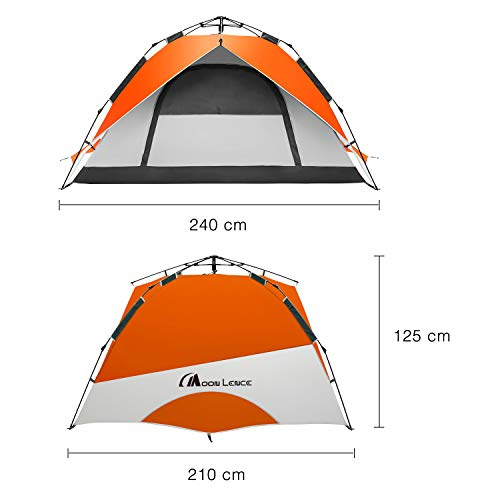 MoonLenceテント4人用ワンタッチテントアウトドア用二重層コンパクトPU2000mmハイキングキャンプ防災組立簡単通気