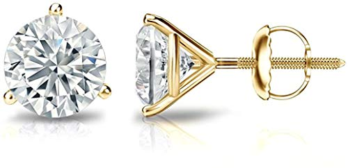 Martini Glass style Earrings with Screw backs set in 14K White, Rose or Yellow Gold with Round Cut Diamonds grown in Lab (GHI, VS) for Women, Girls, Men & Teen. Free Appraisal Certificate.