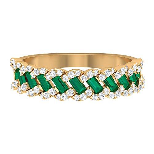 Piedra de nacimiento de octubre: 1,5 x 3 mm, anillo de turmalina verde de corte baguette, anillo de diamante HI-SI, anillo de boda de eternidad, 14K Oro amarillo, Size:EU 67