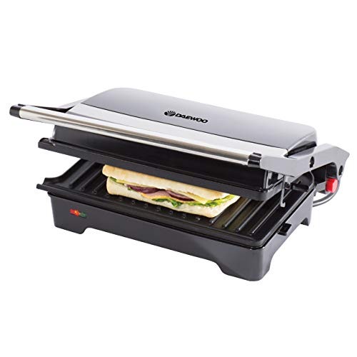 Daewoo 180° Health Grill | Cool Touch Handle | Use Open or Closed | Automatic Temperature Control | Non-Stick Plates | Easy Clean | Cord Wrap Storage | Power On & Ready Light Indicators - 1200W Power