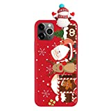 Yoedge Funda para iPhone 11 Pro, 5.8', Silicona Transparente Suave 3D Dibujo Animal Soft Gracioso Christmas Ultrafina Antigolpes Cubierta Case Cover, Bella Navidad Diseño, Monigote de Nieve