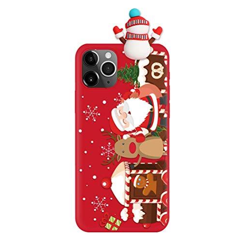 Yoedge Custodia per iPhone SE 2020/7/8-4.7', Morbida Flessibile TPU Cover in Silicone Matt, 3D Protezione Cartone Animato Anti-Graffio Sottile Antiurto Back Case, Natale Design Carino, Pupazzo Neve