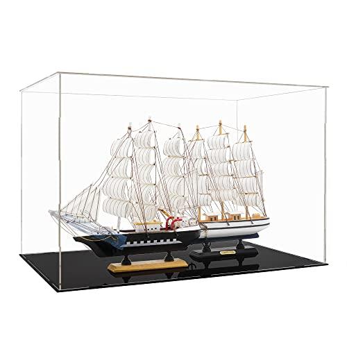 Tingacraft Acrílico Vitrina Grande (56 x 36 x 37 cm) para Barco Maquetas Figura 30cm 1/6, Cristal Caja Metacrilato Expositor para Colecciones