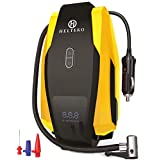 Helteko Portable Air Compressor Pump 12V DC - Digital Tire Inflator - Auto Tire Pump with Emergency Led Lighting and Long Cable for Car - Bicycle - Motorcycle - Basketball and Other, Yellow