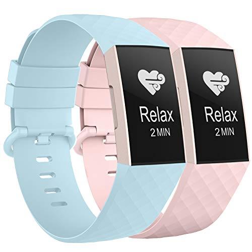 WASPO für Fitbit Charge 3 Armband, Sportliches Wasserdichtes Ersatzarmband Kompatibel mit Fitbit Charge 3/ Charge 3 Special Edition, Damen Herren (Hellblau+Rosa, Groß)