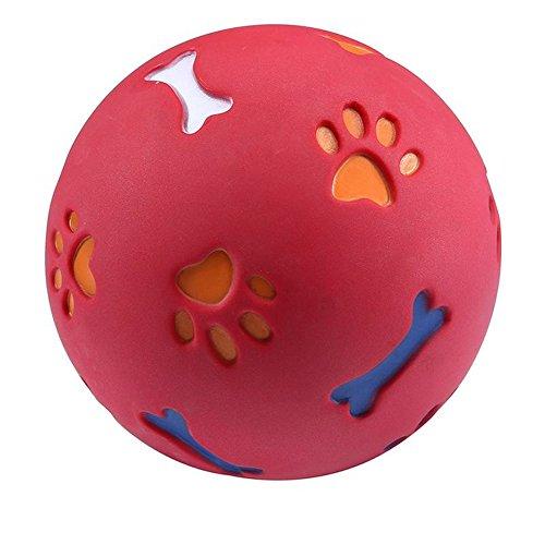 Huhuswwbin Juguetes para Masticar, Bolas de alimentación para Mascotas, alimento para Fugas, Entrenamiento para Perros, Juguetes para Jugar, Huella de Hueso, Regalo Divertido, Rojo S